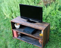Rustic Entertainment Center made from barnwood.