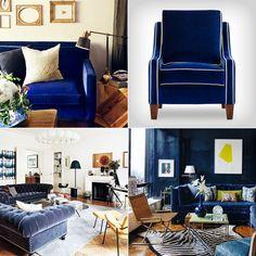 Here are a few dozen of our favorite blue velvet sofas and chair. Tight Back Sofa, Living Room Designs, Living Spaces, Blue Velvet Couch, Furniture Reupholstery, Velvet Chesterfield Sofa, Modern Sofa, Midcentury Modern, Home Decor Furniture