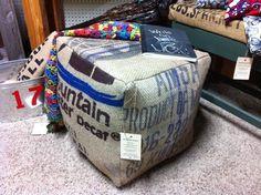 """Coffee Bean Gunny Sack Pouf Cube  18""""x18"""""""