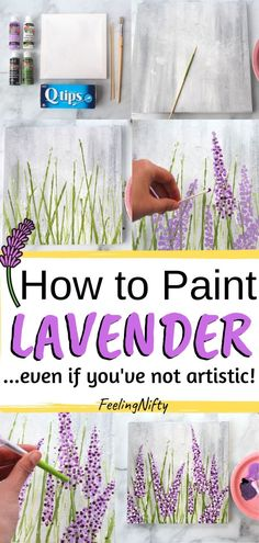 Want to learn how to paint lavender- the easy way? Learn how to paint lavender in acrylics with an easy, step by step painting tutorial for beginners. Paint your lavender on canvas, art journal or paper. Easy Flower Painting, Acrylic Painting Flowers, Simple Acrylic Paintings, Easy Flowers To Paint, Flower Canvas Paintings, Painting Flowers Tutorial, Face Paintings, Indian Paintings, Lavender Paint