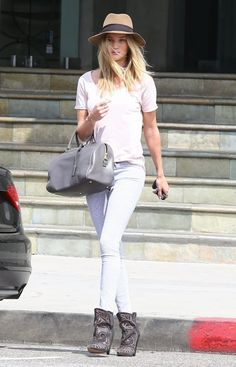 Rosie Huntington-Whiteley in print pants