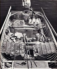 """Bass Boat, 1956 - Boat belonging to Sports Afield angling editor Jason Lucas. It is """"a fishing rig that shows the experience of a lifetime."""""""