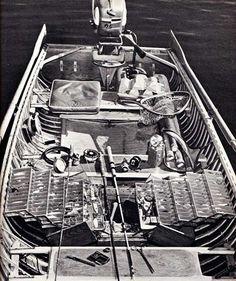 "justenoughisplenty:  oldfishingphotos:  Bass Boat, 1956 Boat belonging to Sports Afield angling editor Jason Lucas. It is ""a fishing rig tha..."