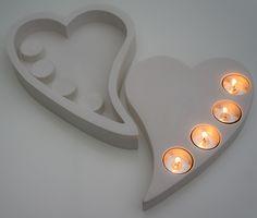 Gjutform - Hjärta med plats för fyra värmeljus