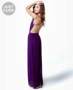 LULUS Exclusive Rooftop Garden Backless Purple Maxi Dress $51