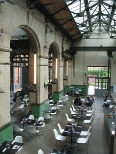 The Wapping Project, London. LOVE this place - great restaurant in the former hydraulic power station. It works. :)