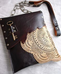 Leather Boho Festival Bag with Crochet Doily and Antique Key