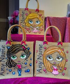 Glitterglamz Fast Track Personalised Bags Jute Bag Hand Painted gift Tote Bag