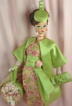 Handmade Vintage Barbie/Silkstone Fashion by P. Linden - 24 pc. Pk/Grn Ensemble #FITSVINTAGEREPRODUCTIONSANDSILKSTONEBARBIE