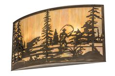 42 Inch W Fly Fishing Creek Wall Sconce - 42 Inch W Fly Fishing Creek Wall SconceFishing enthusiasts will cast their lines in delightfor this striking lighting design, which features atrout leaping out of the lake as the late morning sunradiates beautiful ambient light through BeigeIridescent art glass. The stunning diffuser is complemented with decorative accents and hardware featured in an Antique Copper finish. The wall fixture is handcrafted in the Meyda manufacturing facility at the…