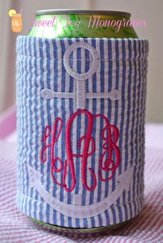 Seersucker Anchor Monogram Koozie by SweetTeaMonograms on Etsy