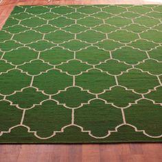 Moroccan Tile Dhurrie Rug Mediterranean RugsDining Room RugsGreen