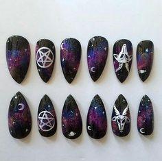 Feb 2019 - Black stiletto nails with galaxy, pentagram, and goat design Black Stiletto Nails, Dark Nails, Matte Nails, Goth Nail Art, Goth Nails, Skull Nails, Black Nail Designs, Nail Art Designs, Nails Design