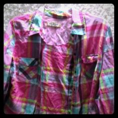 Arizona Jean pink plaid button front shirt 3\4 sleeves roll up, snap buttons in great condition just wrinkled. Worn a few times over a tank top. Arizona Jean Company Tops