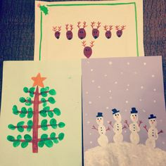 Christmas fingerprint homemade cards for kids. Reindeer, snowmen and a christmas tree! Quick and easy!