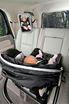 The BRITAX Back Seat Mirror provides a view of your rear-facing baby at any angle while allowing installation to adjacent vehicle head restraints. The shatter-proof, extra large mirror is convex to reflect a head-to-toe view of baby. The adjustable attach The Babys, Baby Kind, Our Baby, Baby Love, Baby Baby, Baby Girls, Baby Necessities, Baby Essentials, Shower Bebe