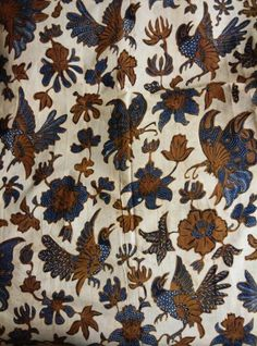 Batik origin Solo central Java,circa 1950,type flower bird and butterfly with white background.
