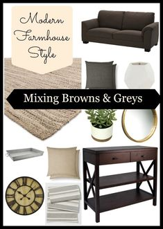 Modern Farmhouse Style Living Room on a budget mixing brown and grey tones! Modern Farmhouse Style Living Room on a budget mixing brown and grey tones! Modern Room, Living Room Decor On A Budget, Modern Farmhouse Style Living Room, Living Room Modern, New Living Room, Farmhouse Style Living Room, Rustic Living Room, Brown Living Room, Living Decor