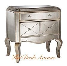 Silvered Gilt-Wood Mirrored Cabinet Console Commode Accent Table Cabriole Legs