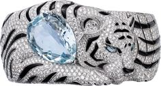 Cartier High Jewelry Fauna and Flora bracelet: Bracelet - white gold, one pear-shaped aquamarine, marquise-shaped tourmalines, onyx, brilliant-cut diamonds Bijoux Art Deco, Art Deco Jewelry, High Jewelry, Luxury Jewelry, Jewelry Shop, Jewelry Accessories, Jewelry Design, Designer Jewelry, Cartier Jewelry