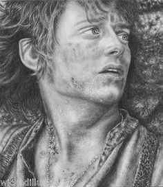 Frodo Baggins The Hobbit Lord of the Rings LotR Original Pencil Portrait Drawing