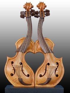 """Wood Sculpture  """"Love at First Sight """" Walnut, Maple, Mahogany. By Philippe Guillerm"""