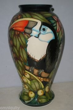 Superb Large MOORCROFT Vase - CHAPADA TOUCAN - Limited Edition by Sian Leeper in Pottery, Porcelain & Glass, Pottery, Moorcroft | eBay