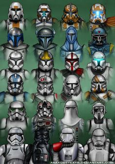 Star Wars - Troopers by AraxussYexyr on DeviantArt Since I did that first stormtrooper, I've been comprising a PSD for myself to use as a sort of reference for the different Stormtrooper Corps variants. This PSD was also to be used by my friends to. Star Wars Clones, Star Wars Clone Wars, Rpg Star Wars, Star Wars Helmet, Star Wars Trivia, Star Wars Facts, Star Wars Humor, Star Wars Fan Art, Star Wars Concept Art
