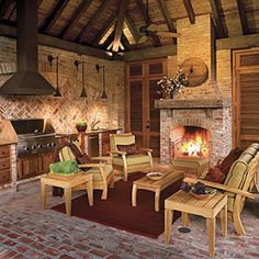 Glowing Outdoor Fireplace Ideas: Pavilion Outdoor Fireplace