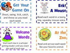 "Phonics Chants {free printable cards with creative ways for kids to practice fluency, phonics, sight words, WBT rules reciting practice} anything you want them to practice chanting in a creative way. Additional ideas to add:  Judge: ""gavel"" by pounding one fist into open palm after each letter whisper each letter totally silent (mouth the letters) my kinders love this one alligator clap using arms as alligator mouth old voice"