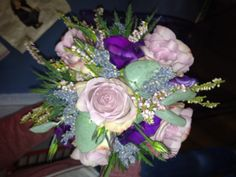 Wild and wonderful gathered posy of memory lane roses and heather with lavender and eucalyptus.