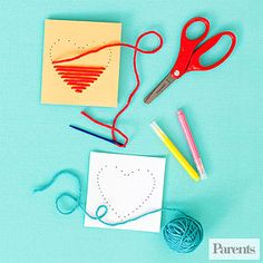Adorable Valentine's Day Crafts & Snacks: Yarn Heart Cards How-To: (via Parents.com)