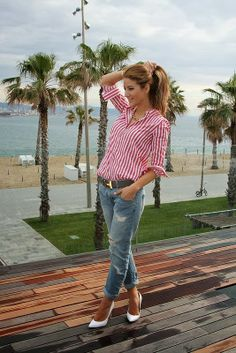 Red And White Stripes Shirt, Blue Jeans And White Heel Shoes