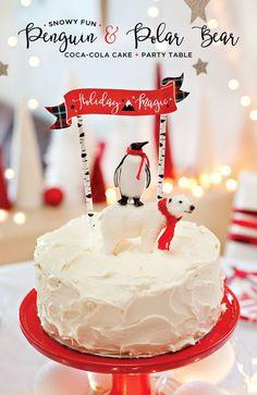 """""""Snowy"""" Coca-Cola Cake + Penguin & Polar Bear Topper"""