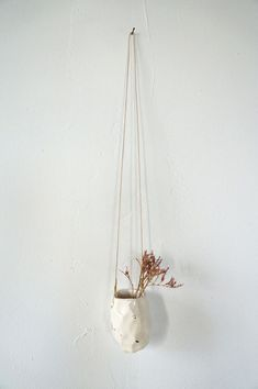 Faceted White + Gold Hanging Vessel with Cream Cord — The Object Enthusiast