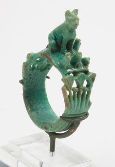 Ancient Egyptian Faience Figural Ring / New Kingdom 18th/19th Dynasty