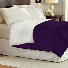 Sweet Home Collection Lightweight Down Alternative Sherpa Comforter Color: Purple
