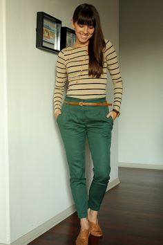 """A basic """"swing dancer look"""", but green pants give it a nice twist."""