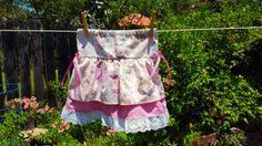 NEW for summer 2016! Ballet Dancer Ruffle Skirt 2T-10 Years, ruffle layered skirt in ballet dancer print with pink bows.  Toddler skirt, girl's skirt, made to order by KnittedKids on Etsy.com $25