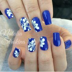Blue Pretty Nails, Fun Nails, Royal Blue Nails, Fingernails Painted, Lace Nails, Fall Nail Designs, Nail Decorations, Accent Nails, Tattoos