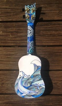 Custom Hand-Decorated Soprano Ukulele Guitar by CedarAndSycamore Ukulele Art, Ukulele Songs, Ukulele Chords, Guitar Art, Ukulele Soprano, Painted Ukulele, Painted Guitars, Ukulele Design, Posca Art