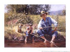 jack+sorenson+art | Fishin' with Grandpa by Jorgen Sorensen art print