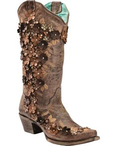 Eeee, these are amazing! Corral Women's Tobacco Floral Overlay Embroidered Stud and Crystals Cowgirl Boots - Snip Toe, Brown