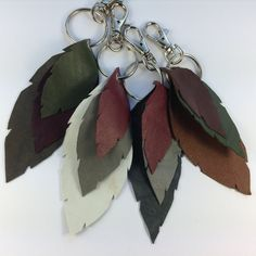 Genuine Leather Autumn Leaf Bag Charms Key Charms by Leather Keychain, Leather Bag, Unique Bags, Stocking Fillers, Leaf Shapes, Leather Accessories, Key Rings, Autumn Leaves, Charms