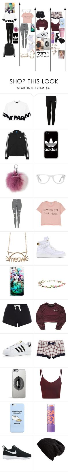 """Which do you like best?"" by scarter-ii on Polyvore featuring Topshop, adidas Originals, adidas, Adrienne Landau, Muse, Monki, Moschino, Samsung, New Look and Aerie"