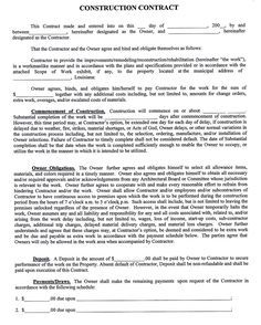 constructioncompanycontracttemplate sample construction contract