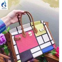 602464ff4f9b Genuine Leather Custom Graffiti Women s Handbags luxury handbags women bags  designer Hand Painted Plaid Crossbody Bolsas