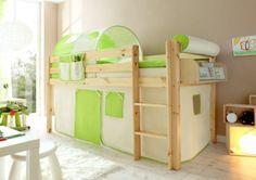 Lit superposes enfants mezzanine avec sommier et rideau 90 x 200 cm en bois de pin massif
