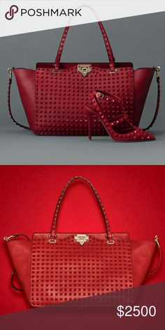 "Authentic very limited Valentino Rouge Medium Tote Valentino Garavani Rockstud Rouge medium shoulder bag in grained calf leather. Two handles and a removable studded shoulder strap. Stud details with a lacquered finish. Metal clasp closure. Inner calfskin zip pocket, two smart phone pockets. Hot stamped logo in gold on the back. Cotton lining. Bottom metal feet. Dimensions W33xH26xD14 cm/W13""xH10.2""xD5.5"". Drop handle 20 cm/7.9"". Strap 100 cm/39"". Made in Italy. Valentino Bags Totes"