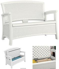 White Outdoor Storage Bench Garden Porch Patio 2 Seater Loveseat Chair Furniture #WhiteOutdoorStorageBench